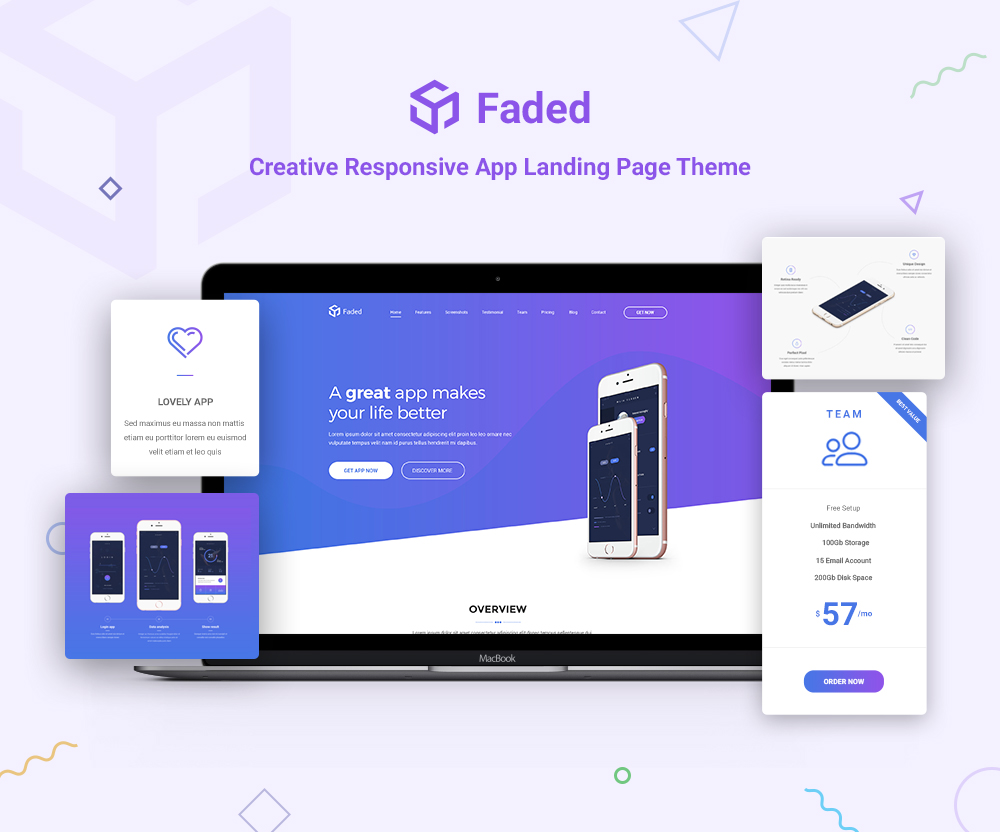 Nulled Faded - Responsive App Landing Page WordPress Theme + RTL