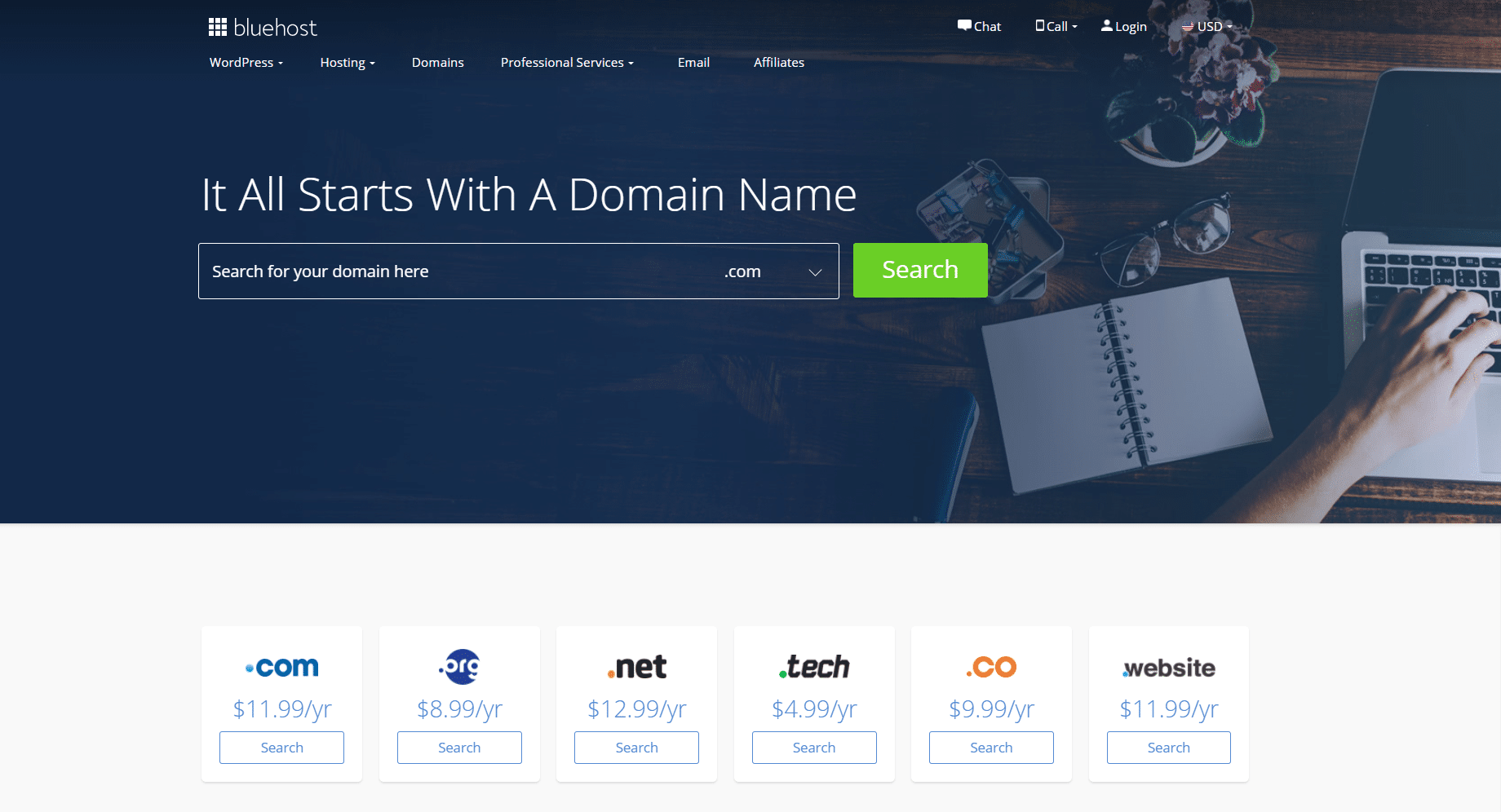 Bluehost is a great source for choosing a perfect match domain name for WordPress.