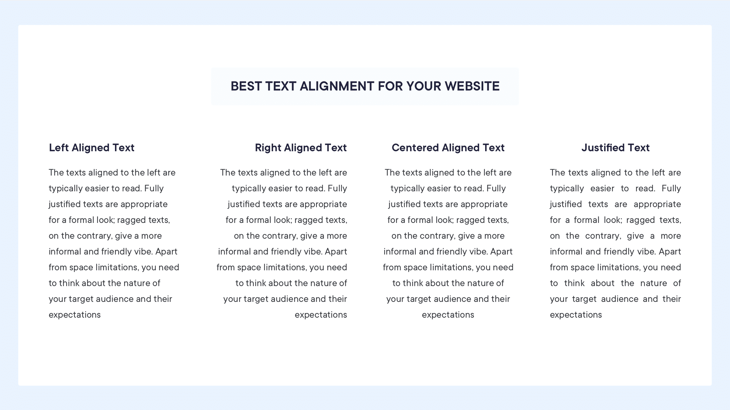 Text alignment ensure the reading smoothness