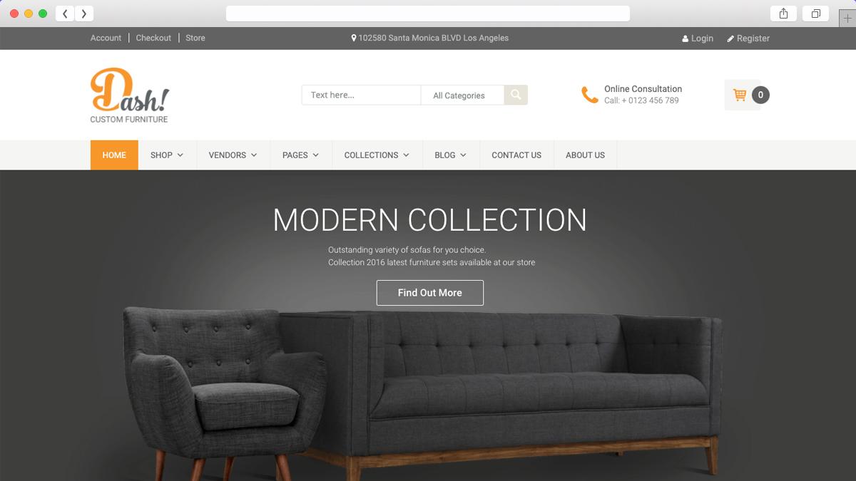 Dash Handmade Furniture Marketplace Theme