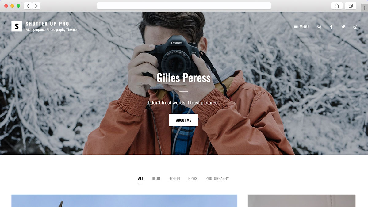You can build your photographers and photo blog website with Shutterup WordPress theme.
