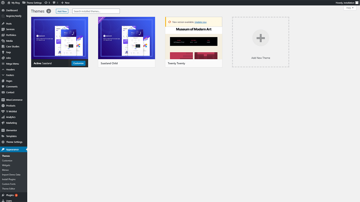 Click on the Appearance > Themes options to install theme