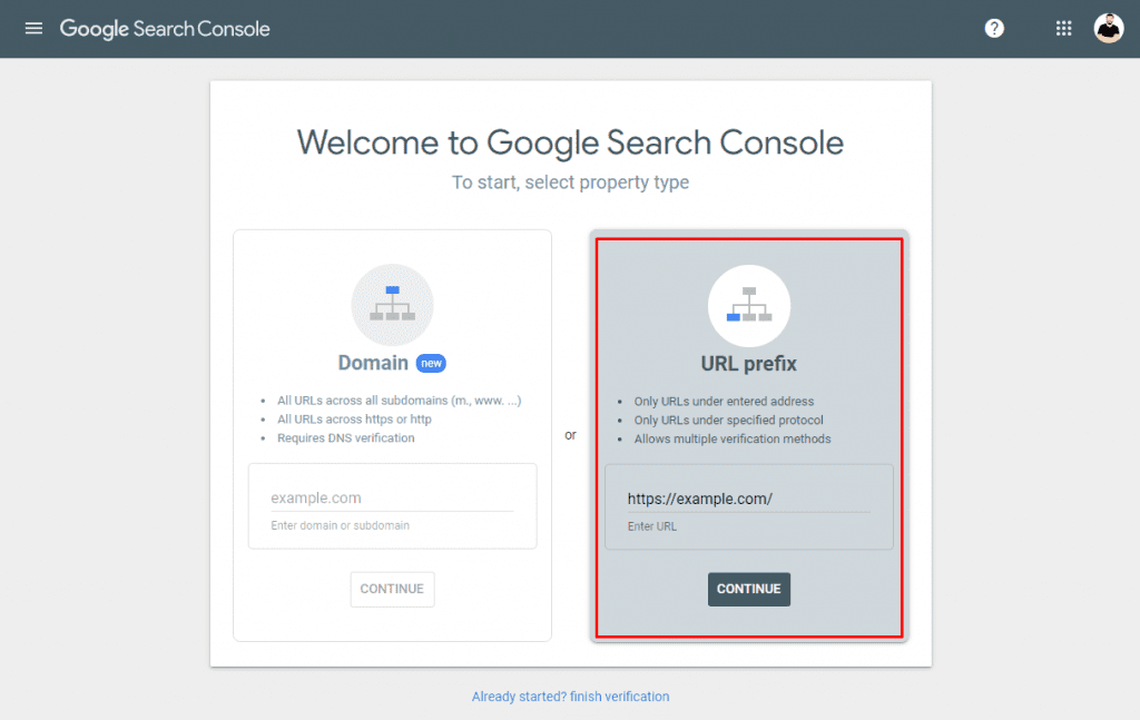 Adding a WordPress Site to Google Search Console - Step 2