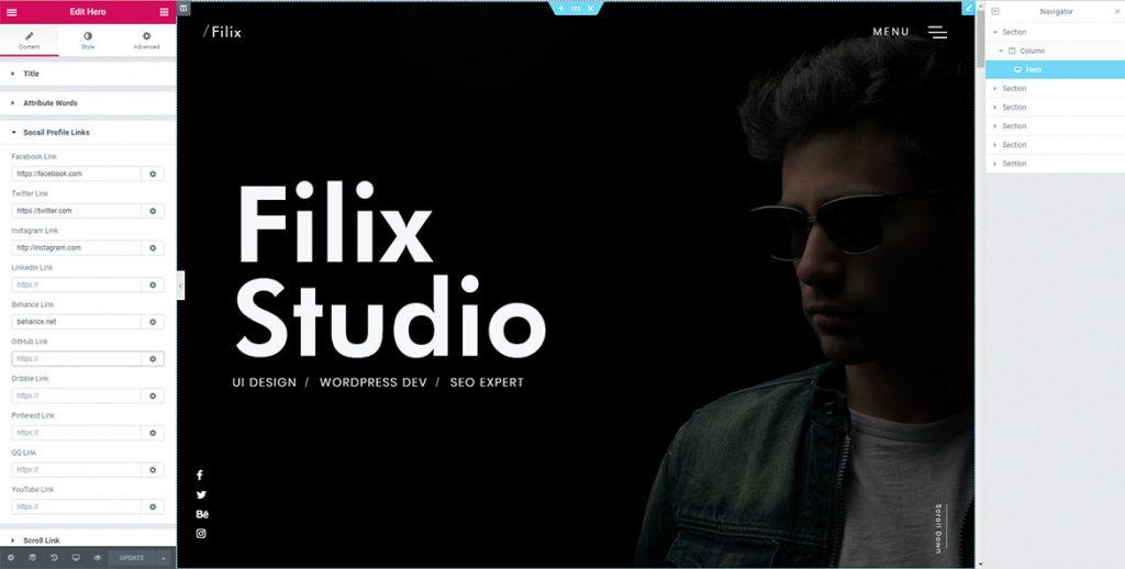 elementor page builder Filix