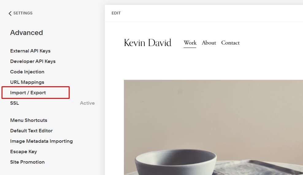 1. Squarespace - Import or Export