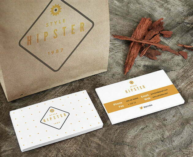 Business Card with Paper Bag Mockup