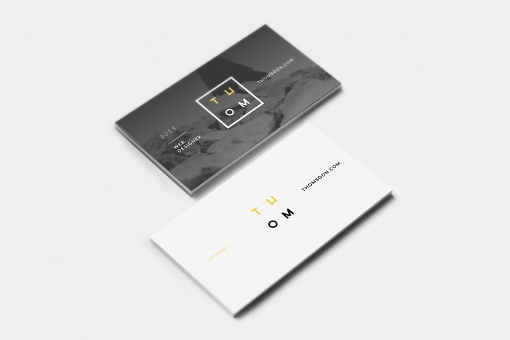 Business Cards on a Solid Color Surface