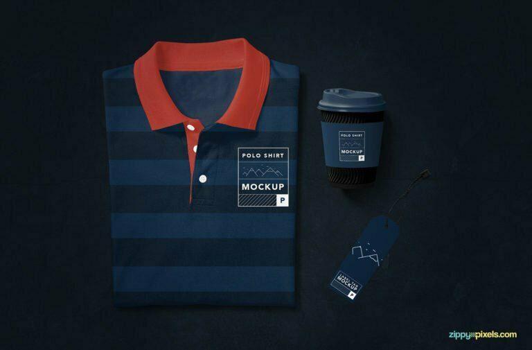Creative Polo Shirt Mockup with Coffee Cup