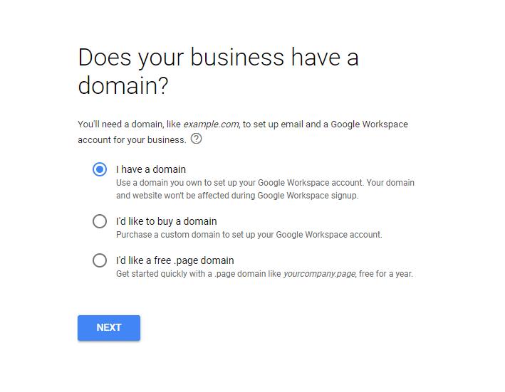 Domain option on GSuite