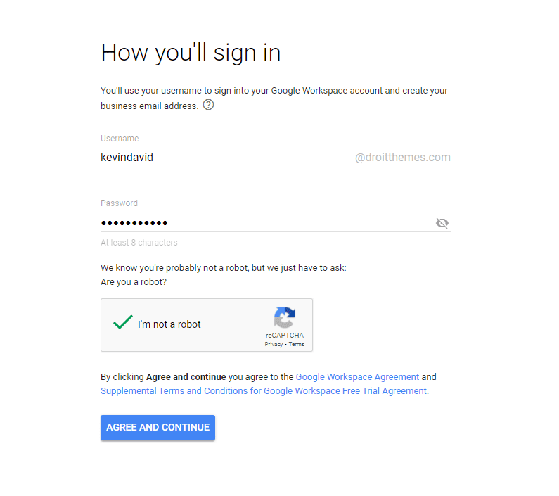 Sign up th GSuite