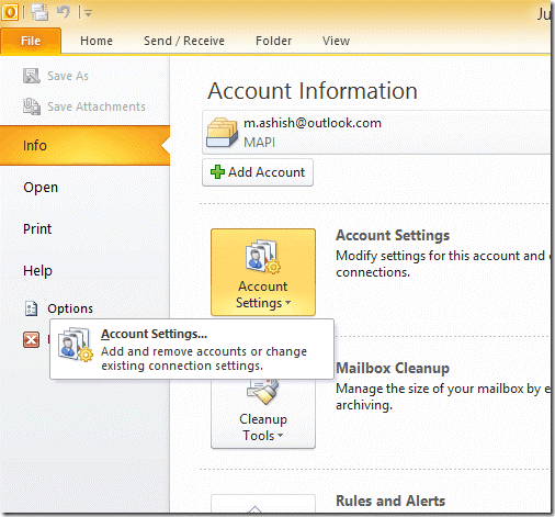 Moving Emails to Archive Account Setting