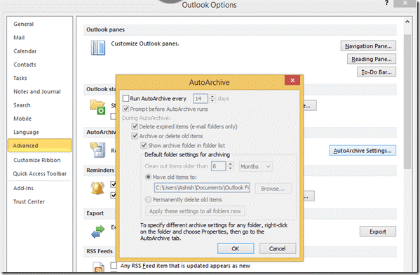 Moving Emails to Archive Setting