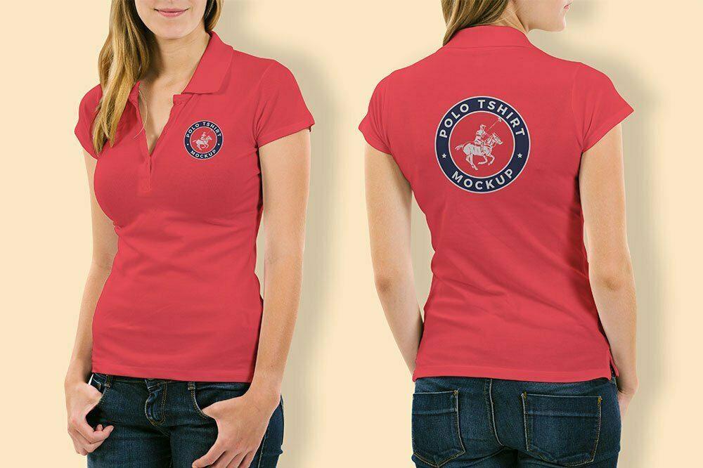 Polo Shirt Mockup of Woman
