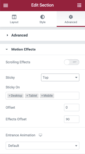 Set Motion Effects to Create Elementor Sticky Header