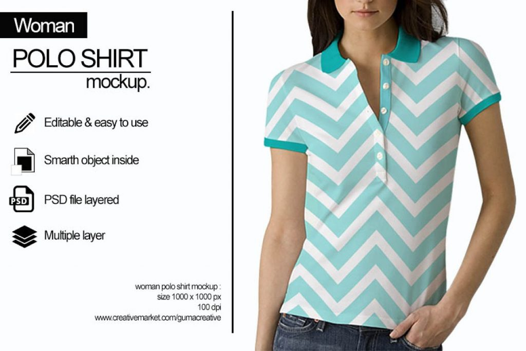 Unbuttoned Polo Shirt Mockup with Woman