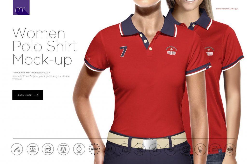 Women Polo Shirt 35 Buttons Mockup