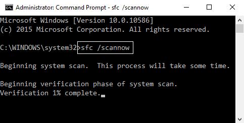 sfc scannow on cmd
