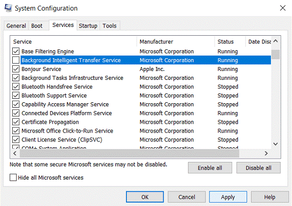 system configuration - msconfig