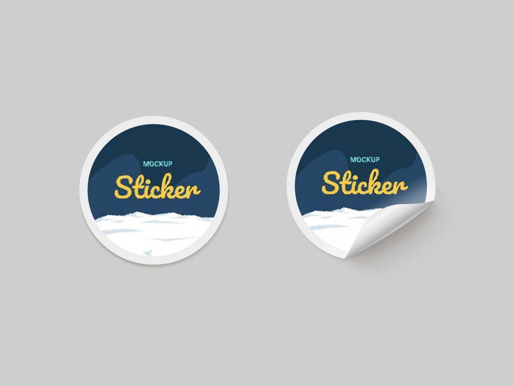Free Round Sticker Mockup