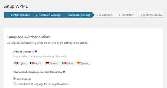 Language switcher option of wpml