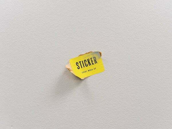 Rectangular Typography Sticker Mockup