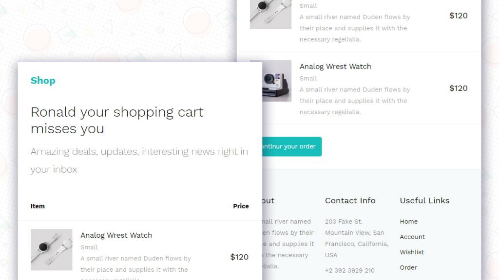 Shopping Cart Email Template