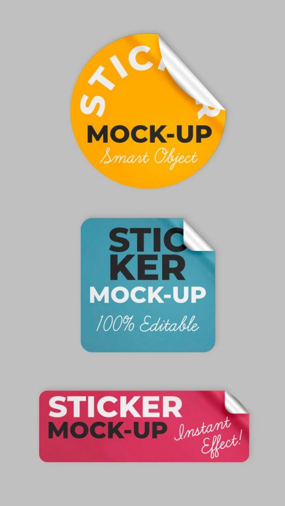 Three Sticker Shapes Mockup