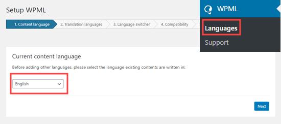 content language setup on wpml