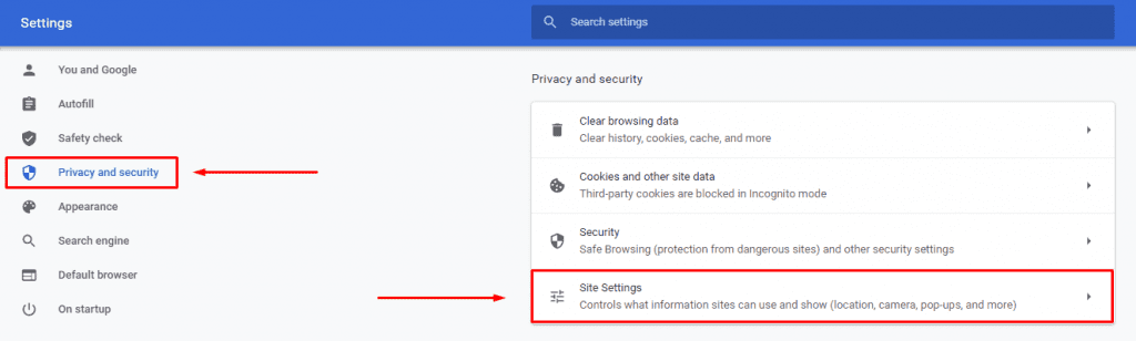 privacy and security on Chrome