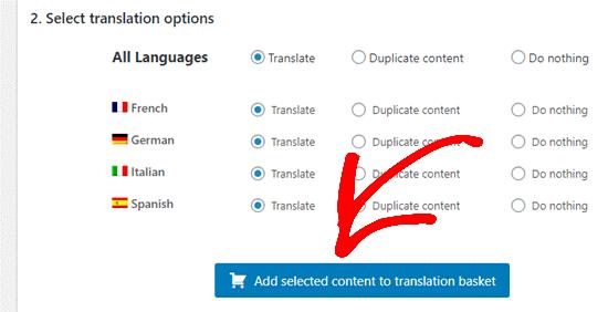 tarnslation options
