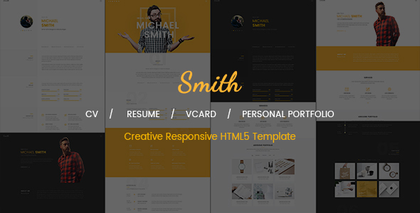 Smith Is An Elegant And Minimal One Page CV/Resume Template. It Is Built  Upon Some Fresh, Clean, Creative, Modern And Unique Designs And Can Be Used  For ...
