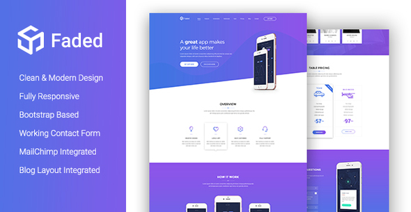 Faded creative app landing page template with blog rtl droitthemes faded is a modern app landing page template beautifully crafted for using in any related product in the industry like mobile apps saas applications maxwellsz
